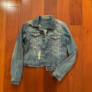 American Eagle Distressed Jean Jacket Small
